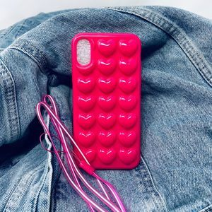 iPhone 7/8 Case, Hot Pink 3D Heart Silicone